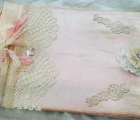 Girls Christening Guestbook Photo Album - Pink and Ivory vintage shabby chic style