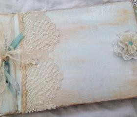 Boys Christening Guestbook Photo Album - Blue and Ivory vintage shabby chic style