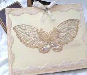 Wedding Guest Book - Butterfly theme in Ivory and Cream - 50 pages