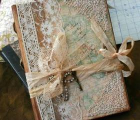 Wedding Guest Book - Our Journey of love - vintage style - Custom made - has 32 pages