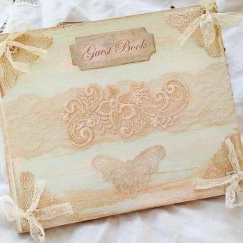 Wedding Guest Book - Larger size in Ivory and pale aqua blue - 46 pages
