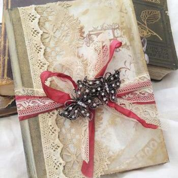 Vintage Wedding Guest book - vintage shabby chic -Custom